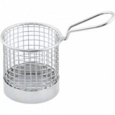 Mini cos rotund inox servire cartofi prajiti 8x8 cm