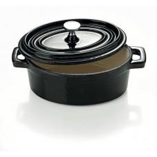 Mini cratita ovala cu capac din fonta 450 ml - Neagra