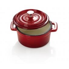 Mini cratita rotunda cu capac din fonta 450 ml - Rosie