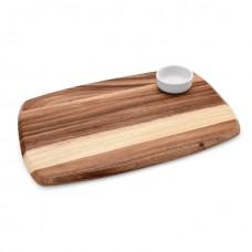 Platou servire din lemn cu bol din portelan 36 x 25 x 1.5 cm