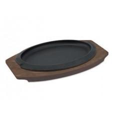 Tigaie ovala din fonta cu suport din lemn 26x17 cm